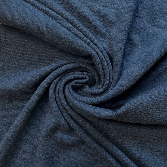 TENCEL™ Lyocell Organic Cotton 2x2 Ribbed Knit - Heathered Lake Blue - 1/2 Yard