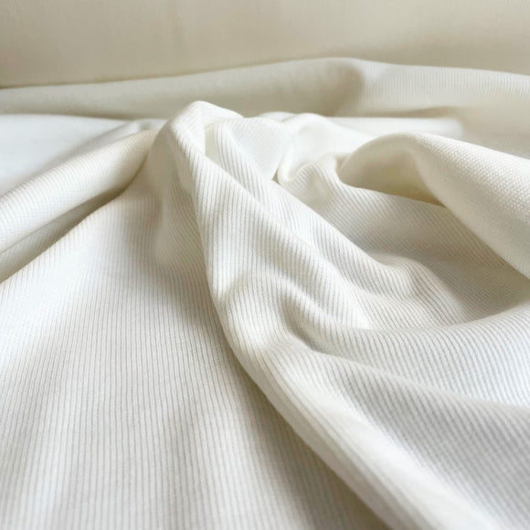 TENCEL™ Lyocell Organic Cotton 2x2 Ribbed Knit - Ivory / Off-white - 1/2 Yard