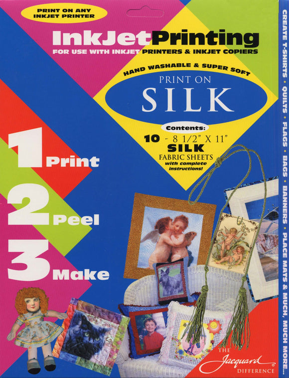 Jacquard - Silk InkJet Fabric 8.5-Inch x 11-Inch Sheets, Printable Silk, 10-Pack