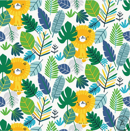 Lions in the Wild - Green Forest - European Import Cotton Jersey Knit - 1/2 Yard