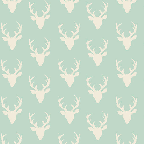Hello, Bear Jersey Knit by Art Gallery Fabrics - Tiny Buck Forest Mint - Green - 1/2 Yard