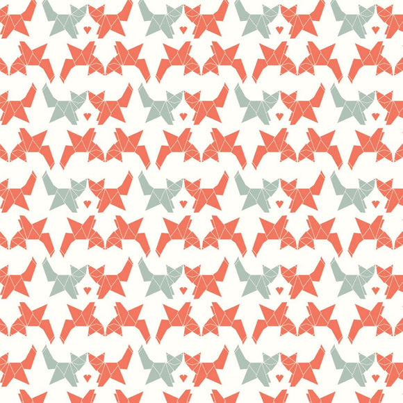 Birch Fabrics Organic Cotton Interlock Knit Geo Fox Print - 1/2 yard