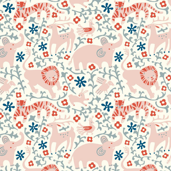 Birch Fabrics Organic Cotton Interlock Knit - Enchanted Kingdom - Hidden Flower Field Cream - 1/2 yard