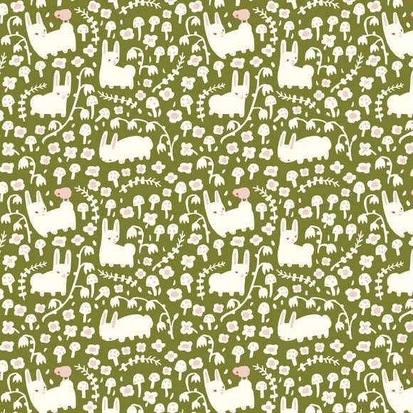 Birch Fabrics Organic Cotton Interlock Knit - Enchanted Kingdom - Bunny Meadow Moss Green - 1/2 yard