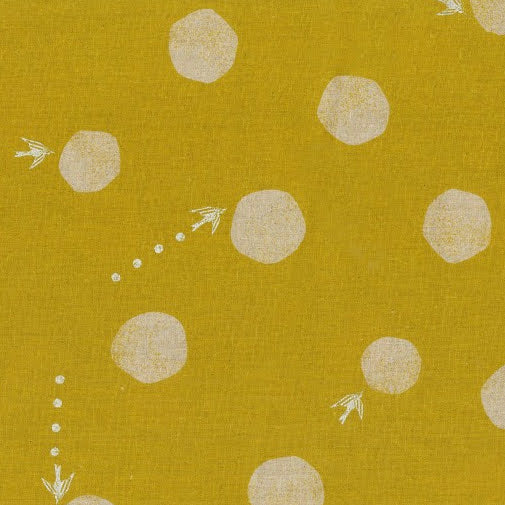 Kokka - Echino - Water Drops - Birds - Mustard - Linen / Cotton Fabric
