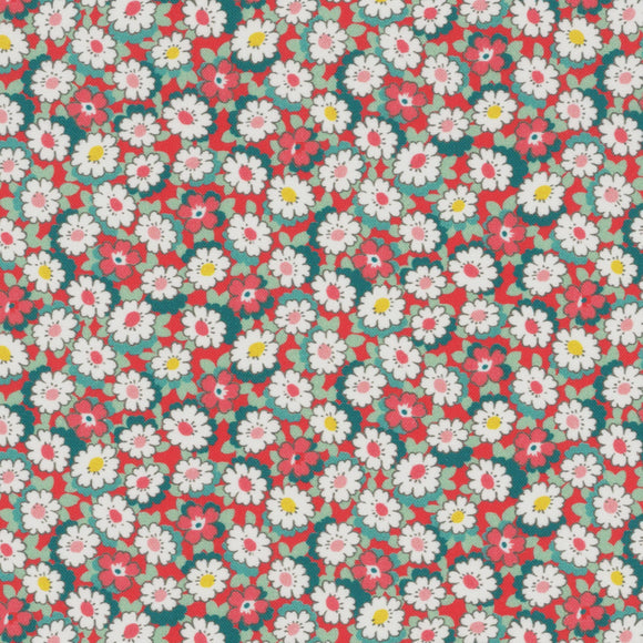 Lecien Japan - Retro 30's Child Smile Small Floral - Daisies  - Cotton Fabric - Red - 1/2 Yard