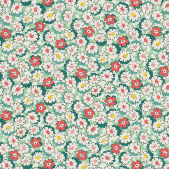 Lecien Japan - Retro 30's Child Smile Small Floral - Daisies  - Cotton Fabric - Green - 1/2 Yard