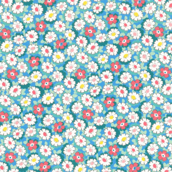 Lecien Japan - Retro 30's Child Smile Small Floral - Daisies  - Cotton Fabric - Blue - 1/2 Yard