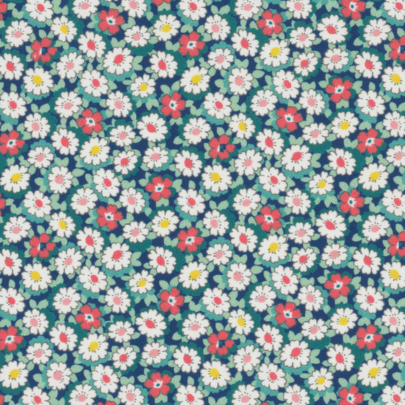 Lecien Japan - Retro 30's Child Smile Small Floral - Daisies  - Cotton Fabric - Navy - 1/2 Yard