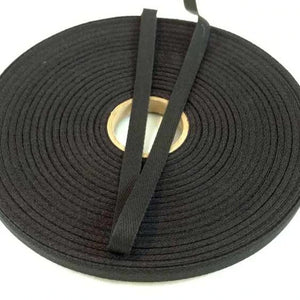 "10mm (3/8"") Herringbone Twill Tape 100% Cotton - Black - By the Meter OR 5 Meter"