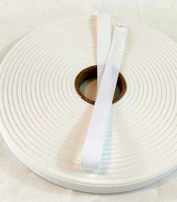 Bulk 50 Meters of 13mm Herringbone Twill Tape 100% Cotton - White - By the Roll 50 Meters