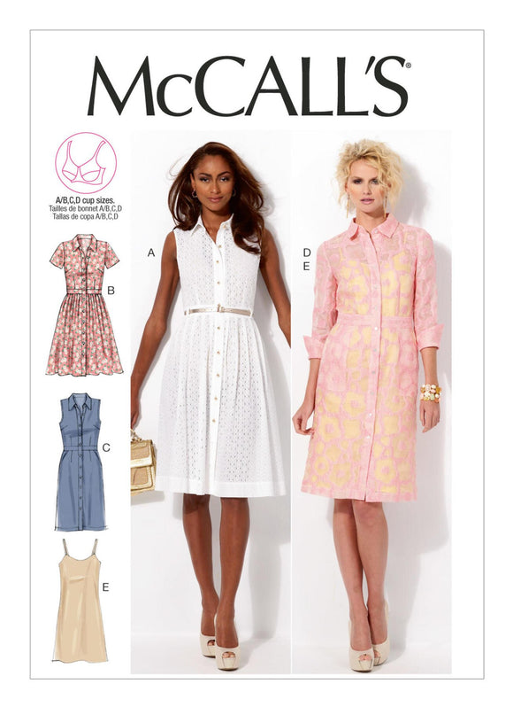 McCall's - M6696 Misses' Shirtdresses and Slip (Sizes 8-10-12-14-16)