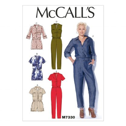 McCall's Patterns - M7330 Misses' Button-Up Utility Jumpsuits and Rompers - XS-S-M