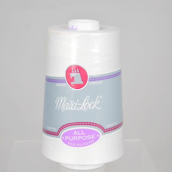 Maxi-lock All Purpose Polyester 50wt Serger Thread - 6000 yards each - White