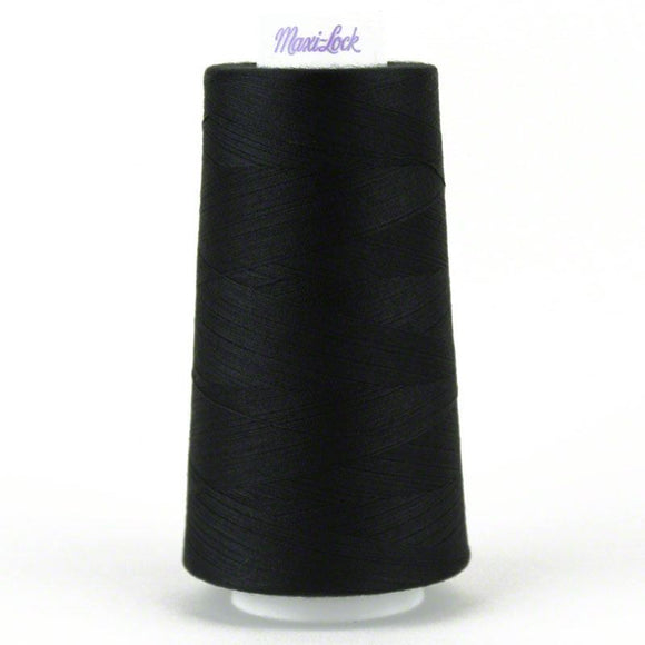 Maxi-lock All Purpose Polyester 50wt Serger Thread - 6000 yards each - Black