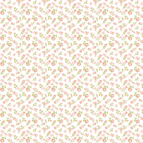 Poppie Cotton - Daisy Mae - Mini Mai - White & Pink Tiny Floral - 1/2 Yard