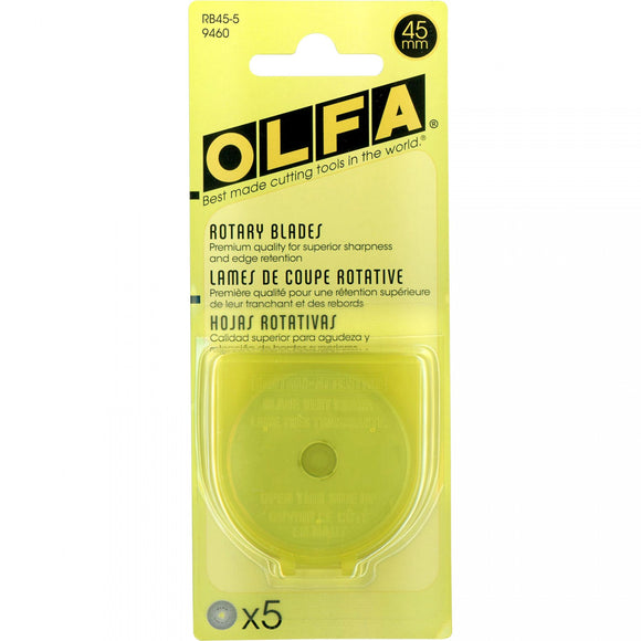Olfa - 45mm Tungsten Tool Steel Rotary Blades - 5 pack