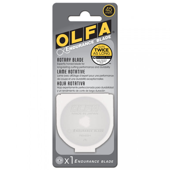 Olfa - 45mm Endurance Rotary Blade - Cuts twice as long - 1 pack