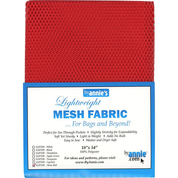 By Annie Lightweight Mesh Fabric Atom Red - 1/2 Yard by 54