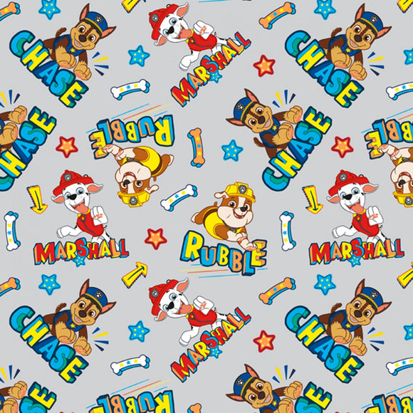 Paw Patrol - Chase, Marshall & Rubble - David Textiles - Grey - Cotton Fabric - 1/2 Yard