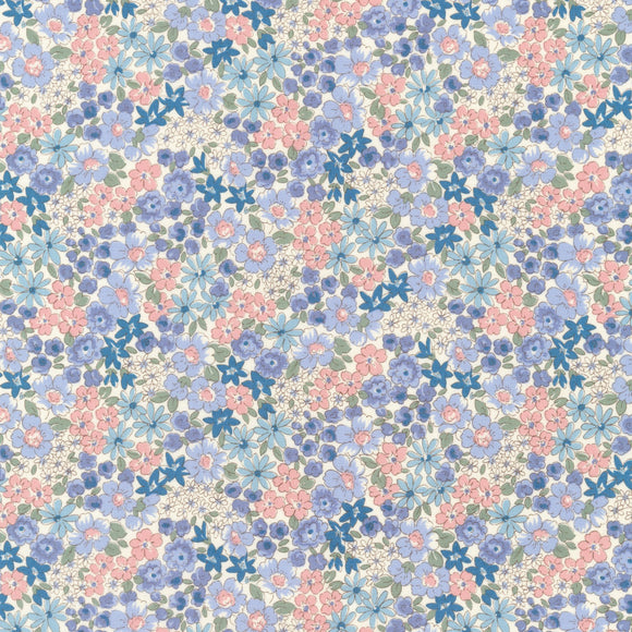 Sevenberry for Robert Kaufman - Petite Garden - Tiny Floral - Blue & Pink - Cotton Fabric - 1/2 Yard