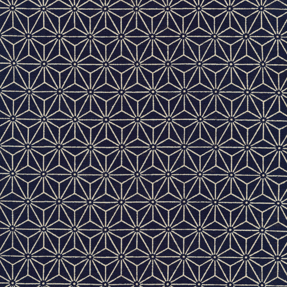 Quilt Gate - Asanoha - Hemp Leaves -  Indigo dyed Cotton Canvas Fabric - 1/2 Yard