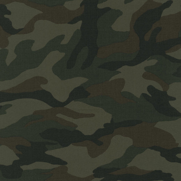 Sevenberry for Robert Kaufman - Olive Camouflage - Cotton Ripstop Fabric 7.25oz - 1/2 Yard