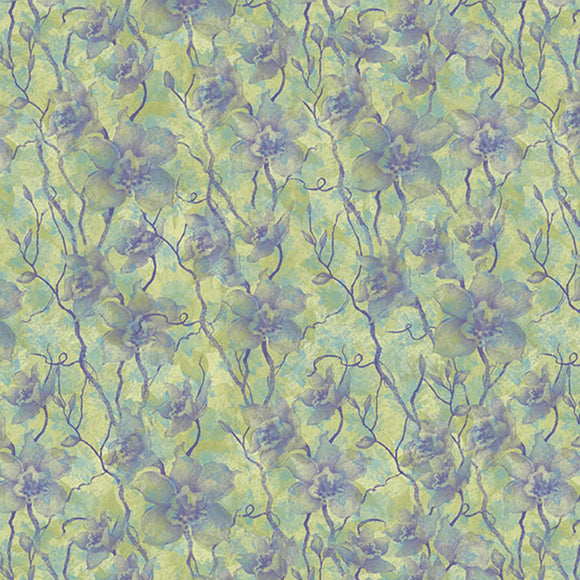 Springs Creative - Floral Vines Jasmine Green Purple Cotton Fabric - 1/2 Yard