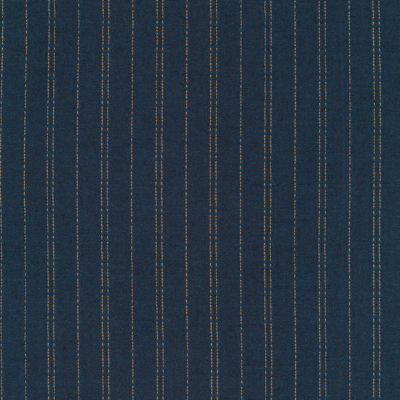 Robert Kaufman Indikon Sashiko Chambray - Denim Blue and Gold Threads- 1/2 Yard