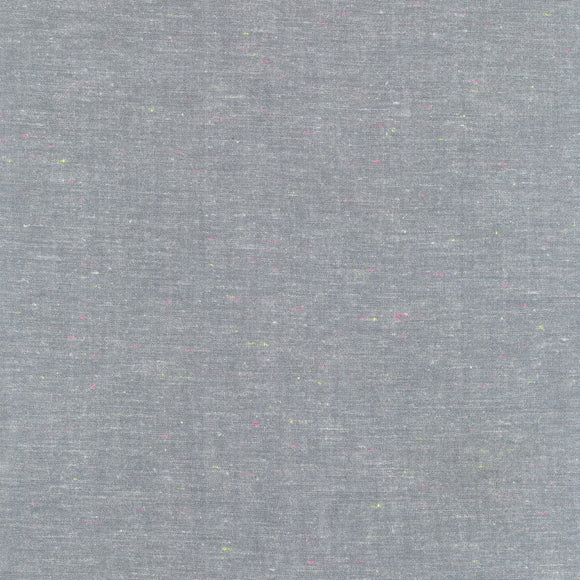 Robert Kaufman - Neon Neppy - Grey - Cotton Chambray Fabric - 1/2 Yard