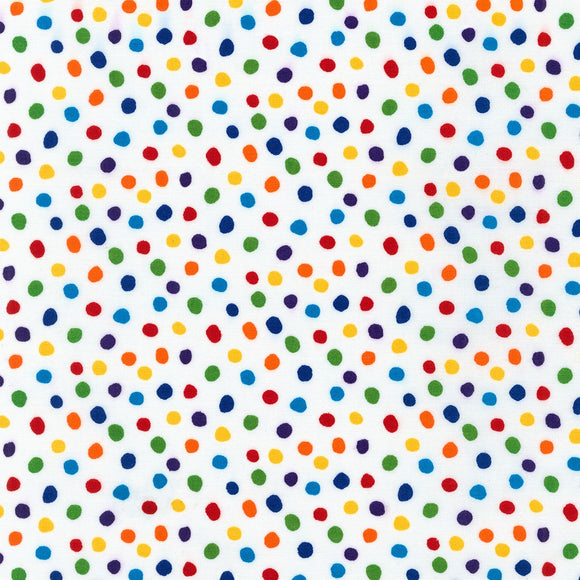Robert Kaufman - Dots and Stripes Delight - Rainbow Dots on White - Cotton Fabric - 1/2 Yard