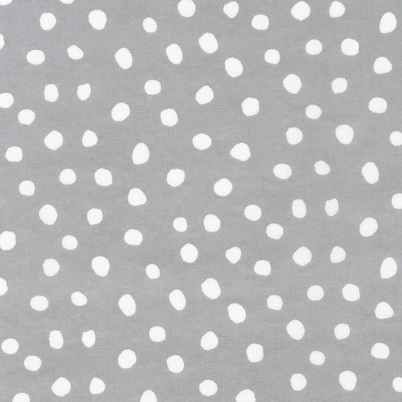 Robert Kaufman - Dots and Stripes Delight - Medium Grey Dots - Cotton Fabric - 1/2 Yard