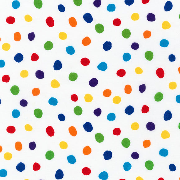 Robert Kaufman - Dots and Stripes Delight - Rainbow Dots on White - Medium Dot - Cotton Fabric - 1/2 Yard