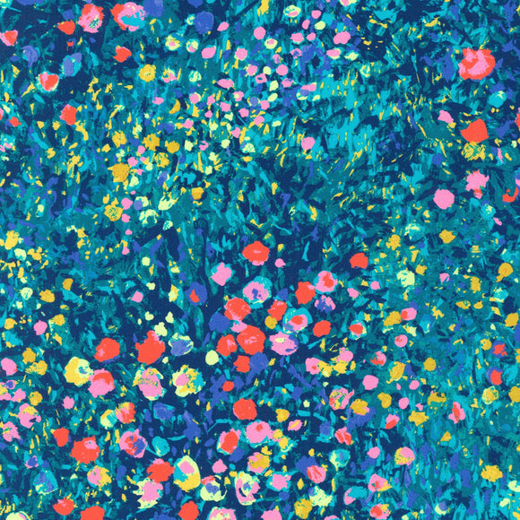 Robert Kaufman - Painterly Petals - Blue Multi - Cotton Fabric - 1/2 Yard