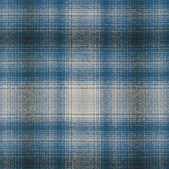 Robert Kaufman Mammoth Flannel Fabric - Blue Plaid - 1/2 Yard