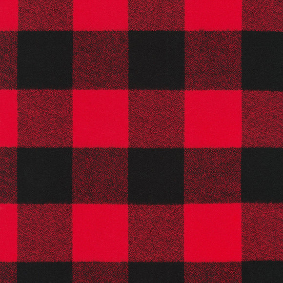 Robert Kaufman Mammoth Flannel Fabric - Large Red Square Buffalo Plaid - 1/2 Yard