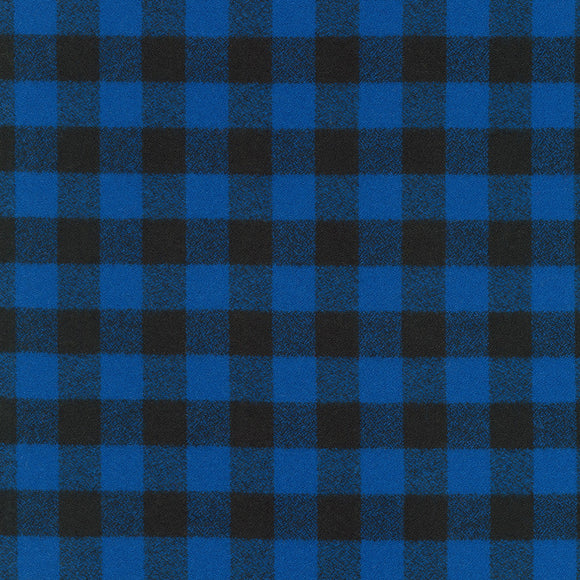 Robert Kaufman Mammoth Flannel Fabric - Small Blue Buffalo Plaid - 1/2 Yard