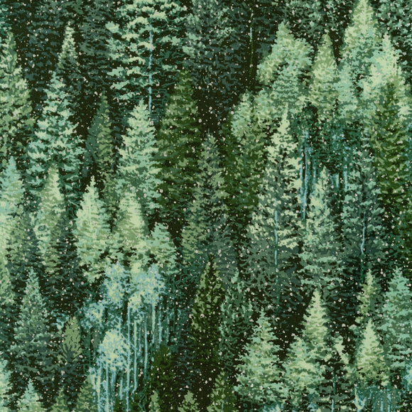 Robert Kaufman - Nature's Window - Metallic - Silver Snowflake on Green Pines - 1/2 Yard