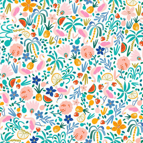 Dear Stella - Flockstar - Summer Toss - Pink / White / Multi - Cotton Fabric - 1/2 Yard