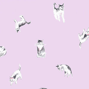 Dear Stella Designs Meow Mix Cotton Fabric - Cats Print - Orchid Purple - 1/2 Yard