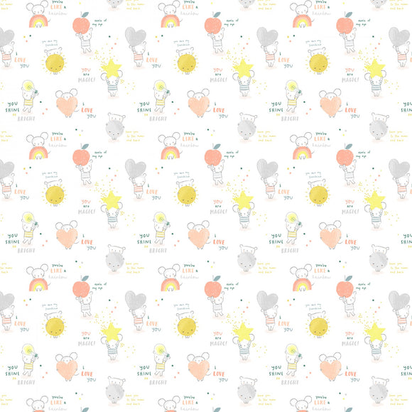 Dear Stella - Shine Bright Little One - Rainbow Mice and Bears - White - Cotton Fabric - 1/2 Yard