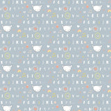 Dear Stella - Shine Bright Little One - Alphabet, Bears, Rainbow - Dusk - Grey - Cotton Fabric - 1/2 Yard