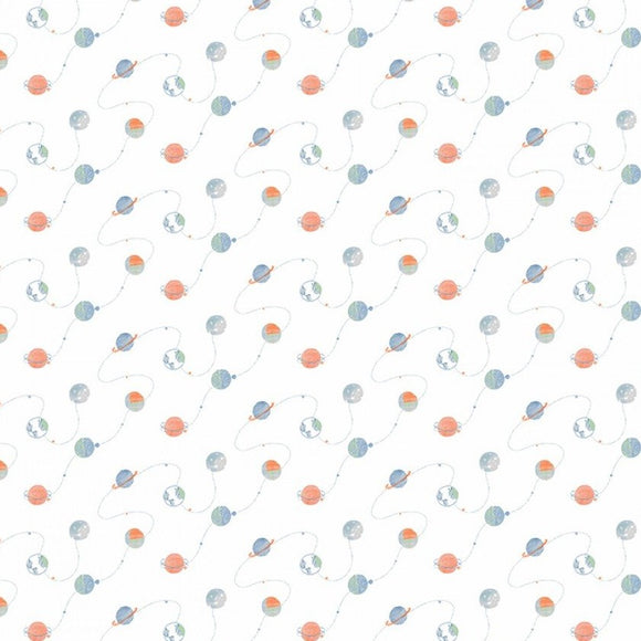 Dear Stella - Eclipse This - Planets - White Cotton Fabric - 1/2 Yard