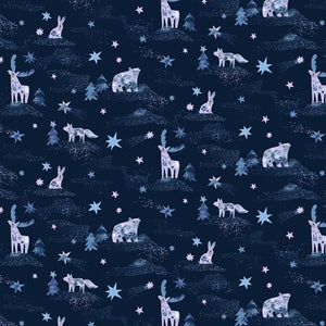 Dear Stella - Starship Dreamscape - Animals - Blueprint - Cotton Fabric - 1/2 Yard