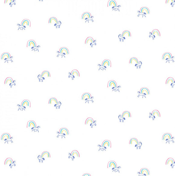 Dear Stella - Love Potion # 9 - End of the Rainbow Unicorns - White / Pink / Purple - Cotton Fabric - 1/2 Yard