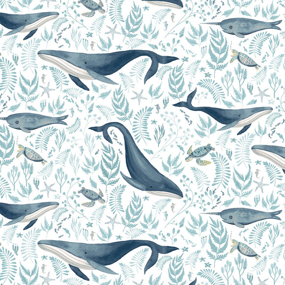 Dear Stella Designs Hooked On A Feeling Cotton Fabric - White Whales - 1/2 Yard