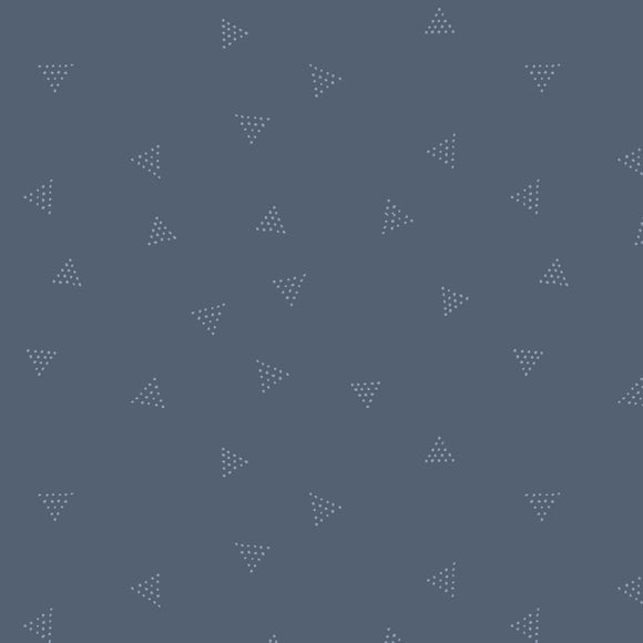 Dear Stella Designs Chroma Basics Cotton Fabric - Triangle Dots - Denim - Blue - 1/2 Yard