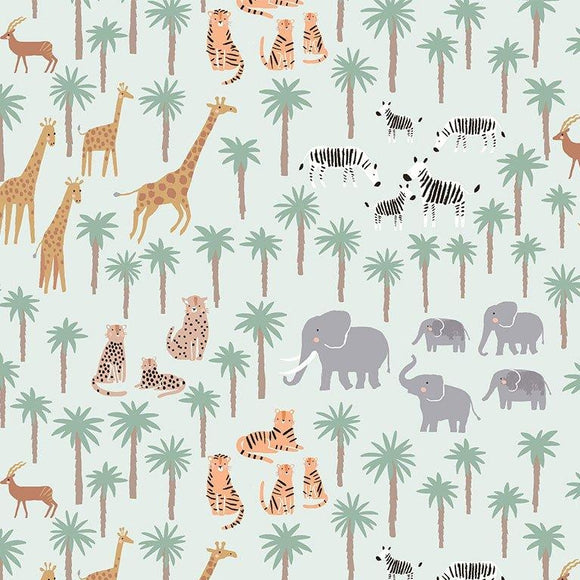 Dear Stella Designs - Mist Migration Jungle Animals - Born to Be Wild  - per 1/2 Yard