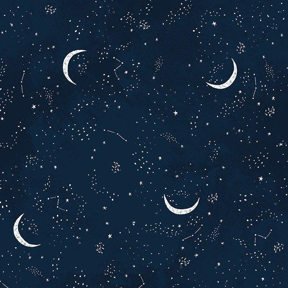 Dear Stella Designs - Brave Enough to Dream - Crescent Moon - Navy - per 1/2 Yard