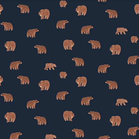 Dear Stella Designs - Brave Enough to Dream - Bears - Navy - per 1/2 Yard